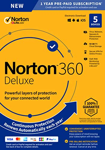 NEW Norton 360 Deluxe - Antivirus software for 5 Devices with Auto Renewal - Includes VPN, PC Cloud Backup & Dark Web Monitoring powered by LifeLock [PC/Mac/Mobile Key Card]