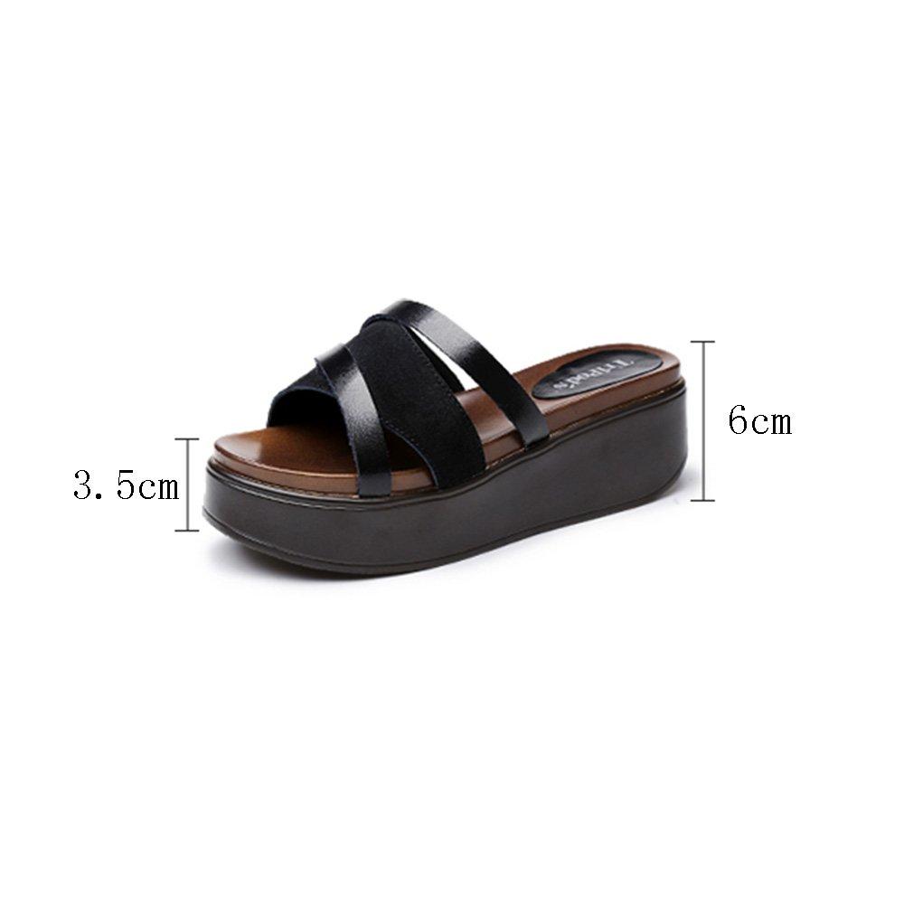 Weibliche Sommer Muffin Bottom Sandalen Mode High Heel besohlten Dick besohlten Heel Hausschuhe (Farbe : 1, Größe : EU39/UK6/CN39) 1 4931d9