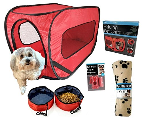 Pop Up Pet Kennel Travel Set, Ideal Gift for Pet Owners. Complete Kit, Soft Collapsible Carrier, 2 Folding Food & Water Bowls, Pet Waste Bags, Blanket & Crate Training E-book. Small Pets Under 20 lbs.
