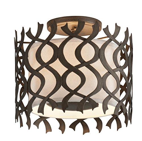 (Troy Lighting C6100 Mai Tai 3-Light Ceiling Semi-Flush Mount - Cottage Bronze - Hardback Linen Shade)