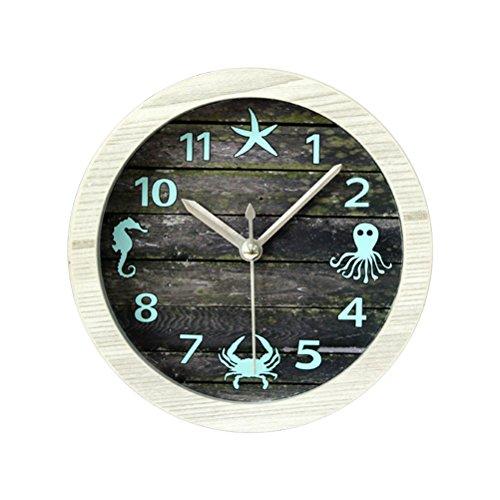 (WINOMO Europe Mediterranean Style Wooden Desktop Clock Round Vintage Alarm Clock Seahorse Crab Octopus Mute Clock)