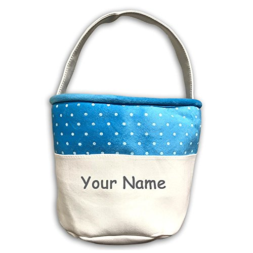 Personalized Holiday Easter Basket Easter Decoration Blue Polka Dot Round Canvas Tote Bag with Name Embroidery]()