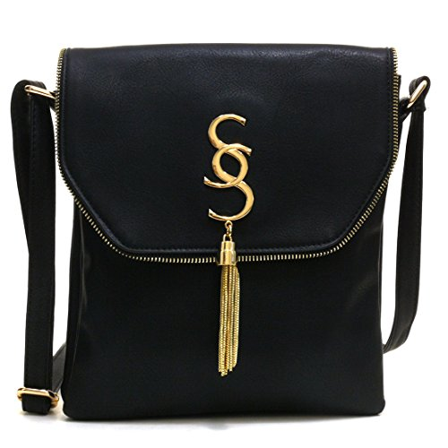 Crossbody Flap Bag Tassel Messenger Bag Fashion Vegan Purse Medium w/ Double Zipper Compartments Black (Cross Body Flap Bag)