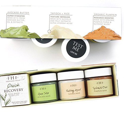 Farmhouse Fresh 1. Quick Recovery, 3-Piece Face Mask Sampler with Guac Star, Pudding Apeel Splendid Dirt