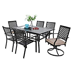 Garden and Outdoor MF Outdoor Patio Dining Set 7 Pieces, 2 Swivel Chairs, 4 Metal Chairs, 1 Patio Dining Table with Umbrella Hole 6 Person… patio dining sets