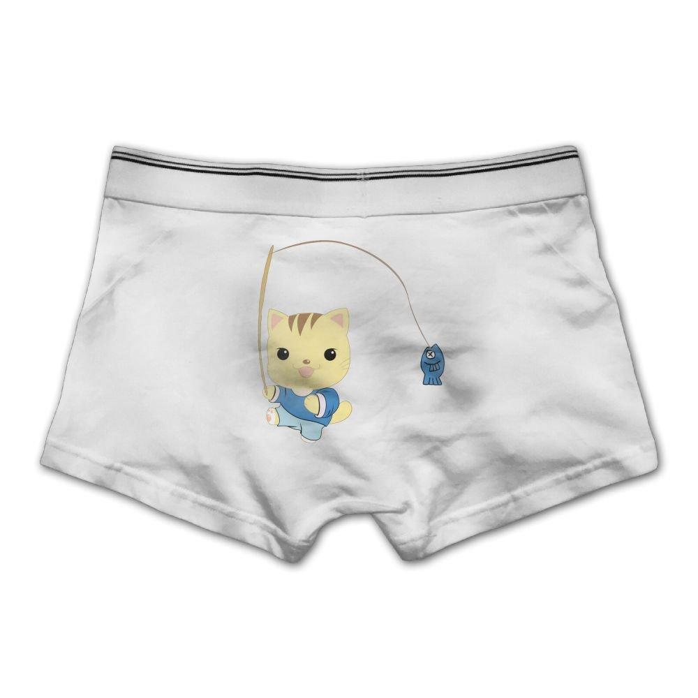 Pmftryuer Mens Smiling Kitten Underwear Boxer Briefs Underpants