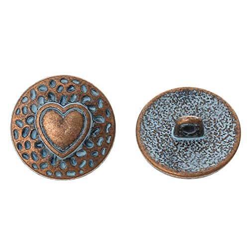 Buttons Shank Pattern (PEPPERLONELY Brand 10PC Metal Shank Button Round Antique Copper Spray Painted Blue Single Hole Heart Pattern 18.0mm( 6/8))