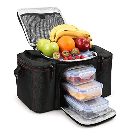 RitFit Cooler&Warm Meal Insulated Lunch Bag with Snap Lid Containers and Ice Pack - Velcro Lunch Bag Lid