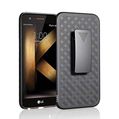 ZASE Case for LG K20 V, LG K20 PLUS, LG Harmony, LG Grace LTE Tough Rugged Holster Armor Slim Protective Case Defender Swivel Belt Clip [Kickstand] for LG K20V (Black Holster Combo Case)
