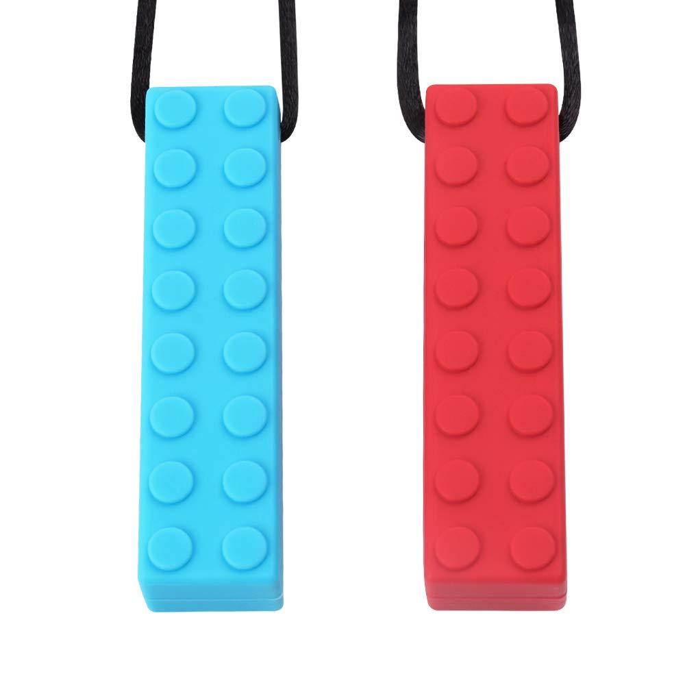 Collier à mâcher Sensoriel TYRY.HU Set Pendentif à mâcher en Silicone Pour Dentition Lego Idéal pour l'autisme TDAH SPD Moteurs buccaux buccaux et dentaires nécessitant 2 paquets résistants et durables (Bleu Rouge)