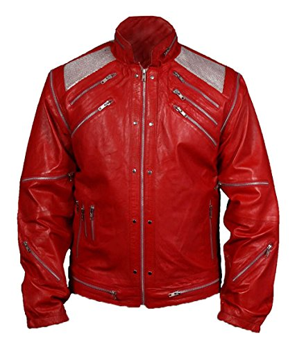 MSHC Men's Michael Jackson Beat It Faux Leather Jacket Large Red -