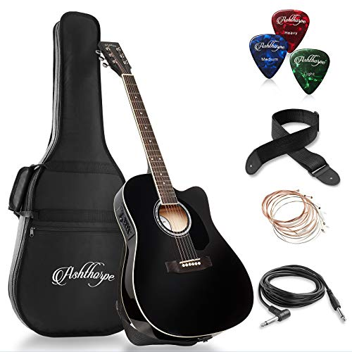 Ashthorpe Full-Size Cutaway Thinline Acoustic-Electric Guitar Package - Premium Tonewoods - Black (Best Cheap Acoustic Electric)