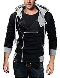 Men's Oblique Zipper Hoodie Casual Top Coat Slim Fit Jacket