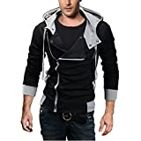 DJT Men's Oblique Zipper Hoodie Casual Top Coat Slim Fit Jacket