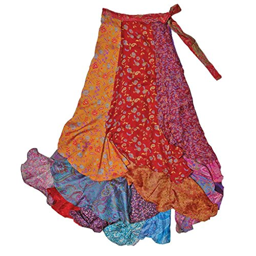 (Jedzebel Original Long Patchwork Silk-Blend Sari Wrap Skirt with Ruffles -)