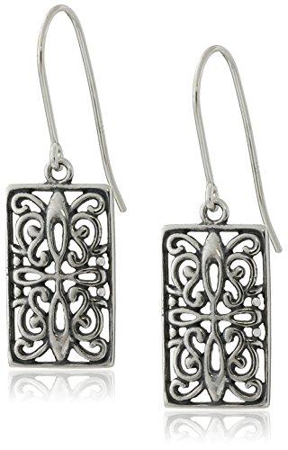 Sterling Silver Oxidized Celtic Rectangle Drop Earrings