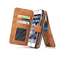 Felidio iPhone 6 Plus Wallet Case, Vintage Genuine Leather Case for iPhone 6s Plus / 6Plus with Card Holder Zipper Pockets Magnetic Flip Cover [2 in 1] Brown
