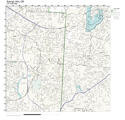 Amazon.com: ZIP Code Wall Map of Raleigh Hills, OR ZIP Code ...