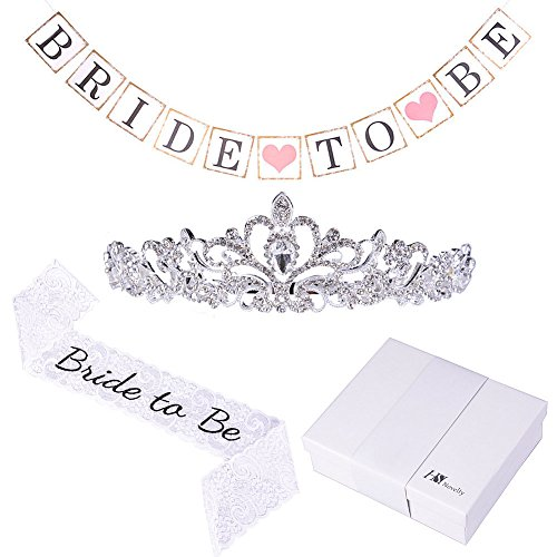Bride to Be Premium Bachelorette Party Decoration Kit, 3 pcs Wedding Bridal Shower Set, White Lace Embroidered Bride to Be Sash, Metal Elegant Rhinestone Tiara, Bride To Be Banner, Comes in a Gift Box