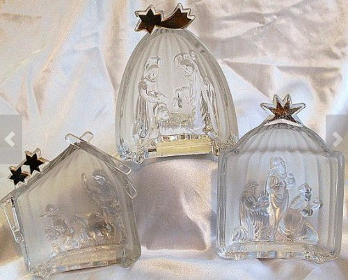Mikasa 3 pc Crystal Golden Stars Nativity Set Manger Kings Shepherd Germany
