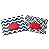 Be Bundles Wet Wipes Pouch VERSION 2 - NEW replacement snap-on lid included, 2-Pack, Black Geometric/Navy Chevron