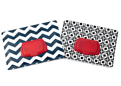 Flushable Moist Wipes Case (Be Bundles Wet Wipes Pouch VERSION 2 - NEW replacement snap-on lid included, 2-Pack, Black Geometric/Navy Chevron - VINYL FREE (EVA and PVC)!!)