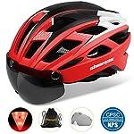 51uW76vHqSL. SS150 Shinmax Casco Bici con Luce di LED,Certificato CE, Casco con Visiera Magnetica Staccabile Shield Casco da Bici Leggero…