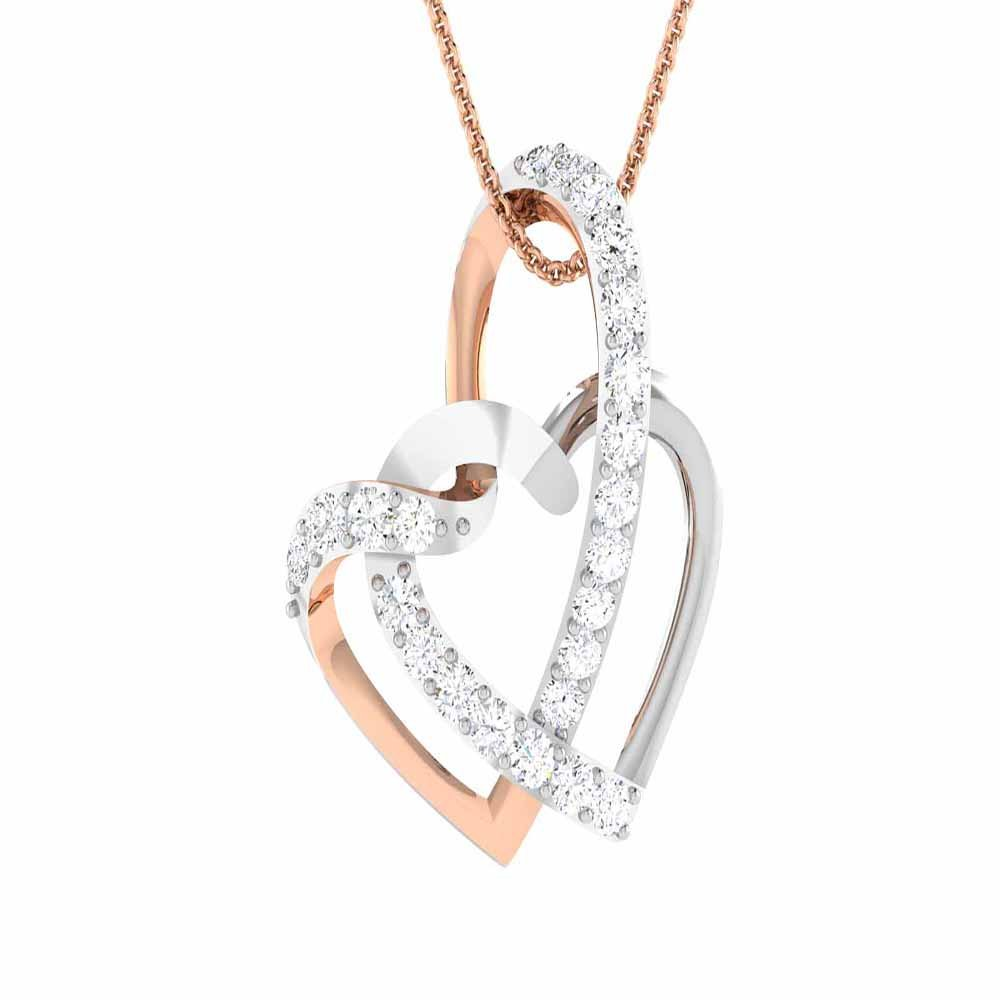 Silverraj Jewels Heart Pendant Collection Rose Gold Plated 14K Alloy Simulated White Diamond Valentine Special Double Heart Pendant With Box Chain 18
