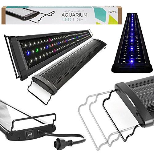 Koval Inc. Fish Tank Aquarium Hood Blue and White LEDs Light Fixture for Freshwater & Saltwater