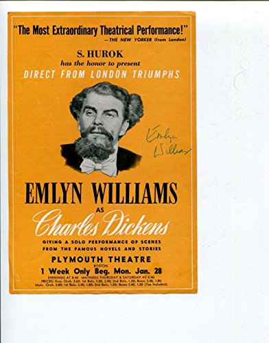 Emlyn Williams Charles Dickens Broadway Signed Autograph Photo Promo Flyer Ad - Autographed NHL Photos -