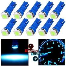 CCIYU 10 Pack T5 Ice Blue 58 70 73 74 Dashboard Gauge 1SMD 5050 LED Wedge Lamp Bulb Light Used For Running Lights, Corner Bumper lights, Dashboard etc