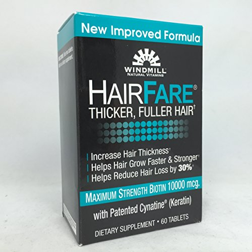Windmill Hair Fare Biotin 10000 mcg, 60 Tablets Per Box (6 Boxes) by WINDMILL HEALTH PRODUCTS LLC
