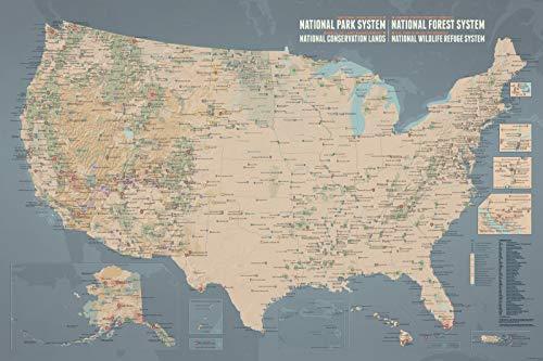 Best Maps Ever NPS x USFS x BLM x FWS Interagency Map 24x36 Poster (Tan & Slate Blue)