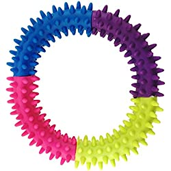 Aduck Small Pet Puppy Dog Chew Toys for Teething and Training Interactive Playing - 4.7 Inch, Soft Natural Rubber Ring Doggie Toys (Random Color)