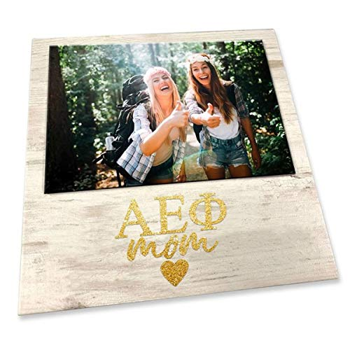 Greekgear Alpha Epsilon Phi White 7 Inches x 7 Inches Faux Wood Picture Frame