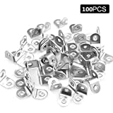 Convenient-life 100 Pack Stainless Steel 90 Degree Angle L Shaped Bracket,Corner Brace Joint Bracket Fastener, 20mm x 20mm x 16mm, Silver Tone, Round End, 2 Holes, Metal