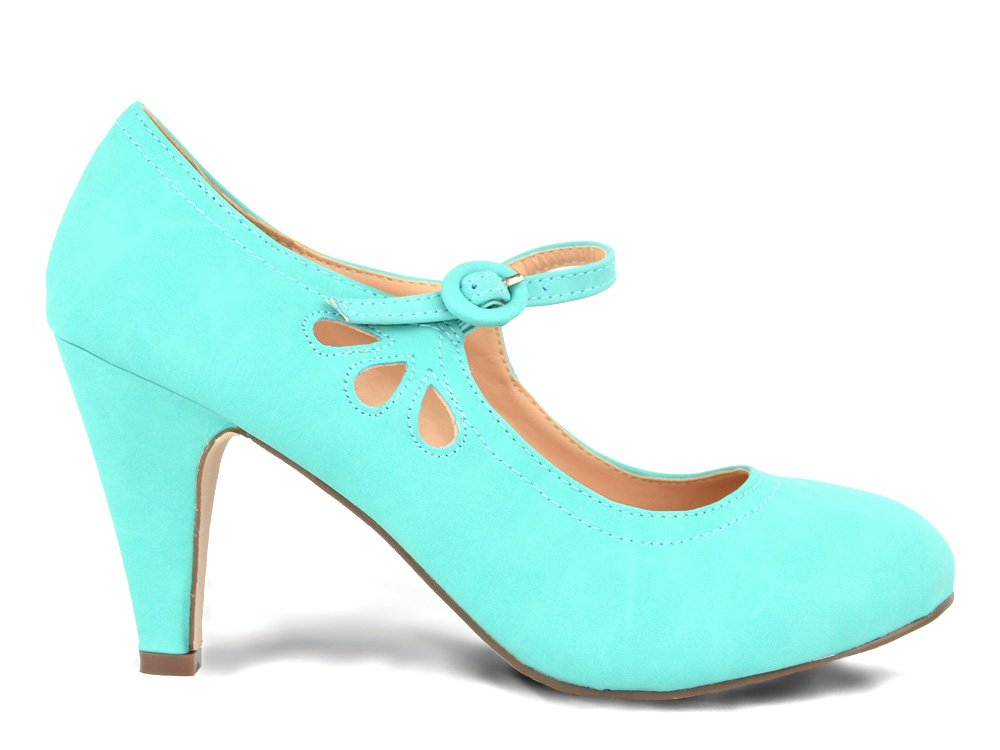 Chase & Chloe Kimmy-21 Women's Round Toe Pierced Mid Heel Mary Jane Style Dress Pumps (10, Mint PU)