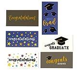 36-Pack Graduation Cards - Money Cards - 6 Unique Designs: Congratulations, Cap, Confetti, Stars - for High School, College, More - Bulk Set - Includes Envelopes - 3.6 x 7.25 Inches
