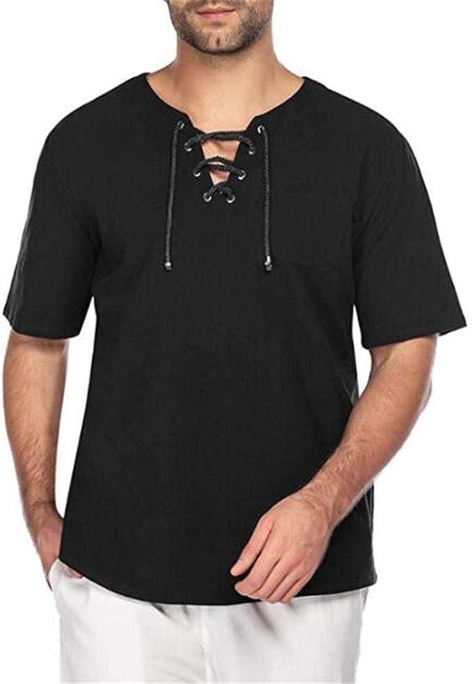 Camiseta Casual De Manga Corta De Encaje De Lino Y AlgodóN De Color Liso para Hombres De Verano: Amazon.es: Ropa y accesorios