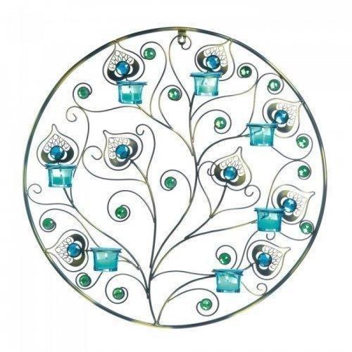 Peacock-Inspired Circular Wall Sconce