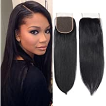 Fumigirl 8a Brazilian Virgin Hair Free Part Lace Closure 4x4 Straight Human Hair Closure Natural Black Color (8inch)