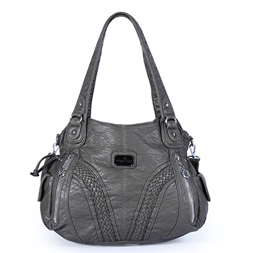 Angelkiss Women Top Handle Satchel Handbags Shoulder Bag Messenger Tote Washed Leather Purses Bag (D.GREY) by Angel Kiss
