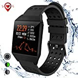 Fitness Tracker Bluetooth Smart Watch with Heart Rate Monitor Call Reminder Activity Trackers Waterproof Step Calorie Counter Pedometer Band for iOS Android Phone Men Women