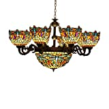 Makenier Vintage Tiffany Style Cyan and Red Stained Glass Dragonfly Lampshades 8 Arms Chandelier with 16 Inches Inverted Ceiling Pendant Lamp