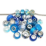 Pack of 10 Assorted Blue Glass Lampwork Murano Glass Beads for Snake Chain Charm Bracelet