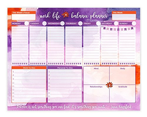 bloom daily planners Work/Life Balance Planning Pad - Tear Off Weekly Work and Personal To Do Pad - Planning System To Do Pad - 8.5