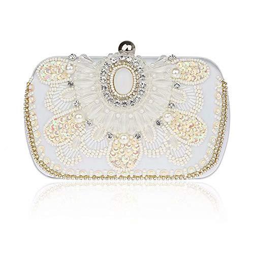 Floreale Nero clutches Antico Frizione Foglia Del Seme Antico Borsa Paillettes Della Gg perla Bead Sacchetto Di Sera Paillettata TEqPTH