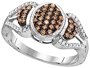 Size - 6.5 - Solid 10k White Gold Round Chocolate Brown And White Diamond Engagement Ring OR Fashion Band Prong Set Oval Shaped Ring (1/3 cttw)