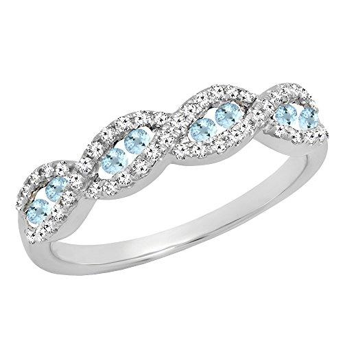 10K White Gold Round Aquamarine & White Diamond Ladies Anniversary Wedding Band (Size 6)