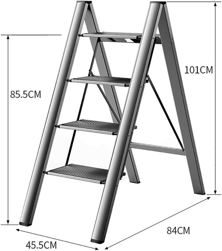 M-Y-S Klappleiter Haushalt Multifunktionale Thick Aluminiumlegierung mit Fischgr/ätmuster Leiter Blume rack Schritt 3//4 Schritt Tragbare Trittleiter Color : Black, Size : 3 layers